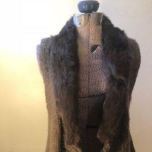 Fenn Wright Manson wool blend vest with rabbit fur